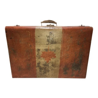 O Canada - Vintage Painted Metal Suitcase With Canada Flag
