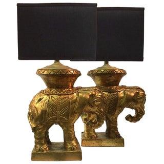Italian Gilded Ceramic Elephant Lamps - Pair