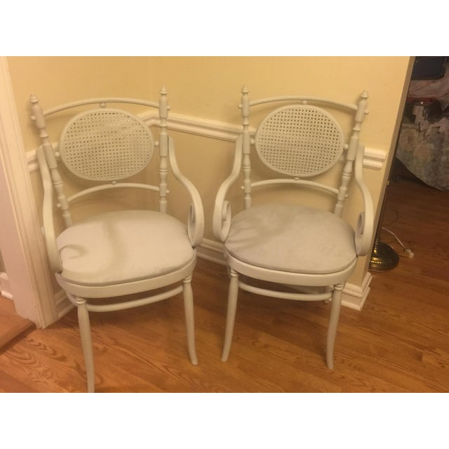 Light Gray Cane Back Chairs - A Pair - Image 2 of 4