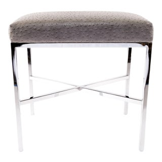 Chrome Finish & Faux Ostrich Upholstered Bench