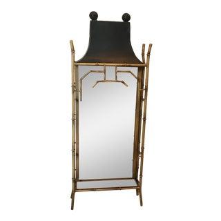 Pagoda Chinoiserie Faux Bamboo Shelf Mirror