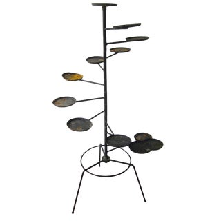 Modernist Industrial Iron Graduated Plant Stand Planter Holder Mid Century Modern