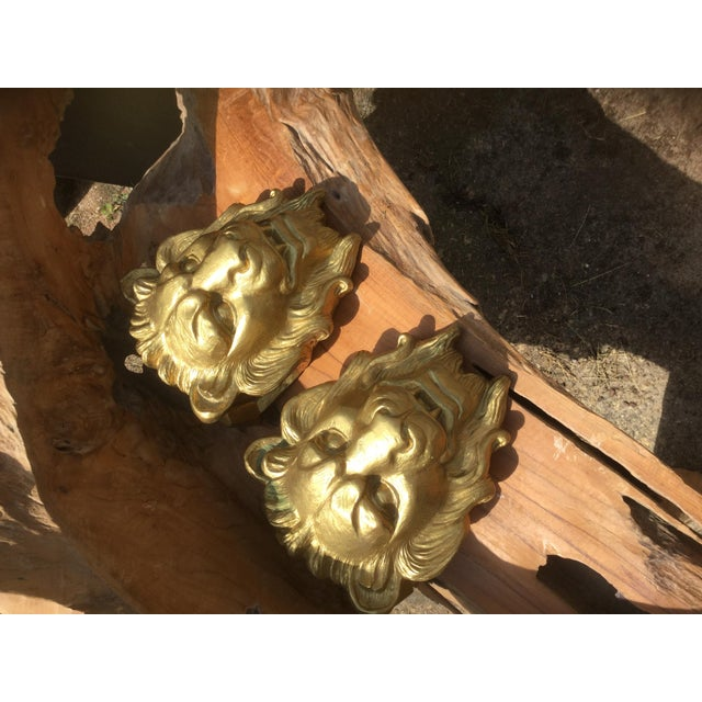 Majestic Golden Lion Wall Shelfs - a Pair - Image 6 of 10