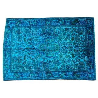 Over-Dyed Cerulean Blue Turkish Rug - 3′4″ × 4′10″