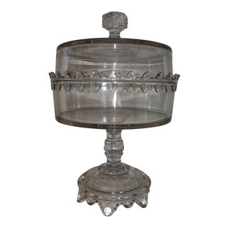 19th Antique Century Glass Biscuit Compote with Lid on Stand