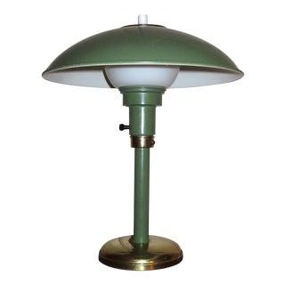 Mid Century Metal & Brass Saucer Form Lamp