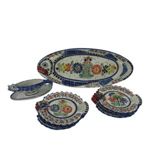 Mid-Century French Henriot Quimper Fish Service Set - Set of 8