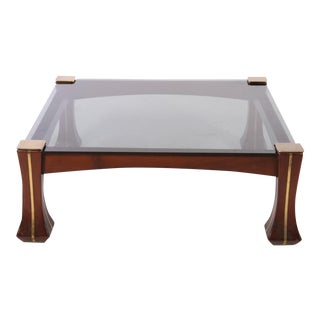 Mid-Century Modern 60s Luciano Frigerio Solid Mahogany Glass Top Table