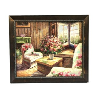 Colorful Cottage Room Oil on Canvas Painting