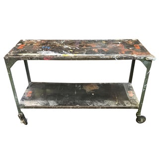 Vintage Industrial Console Table on Casters