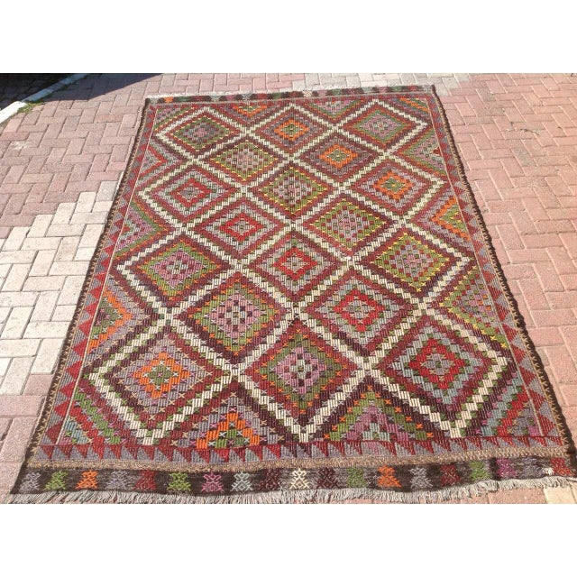 Vintage Turkish Kilim Rug - 6′9″ × 9′11″ - Image 2 of 6