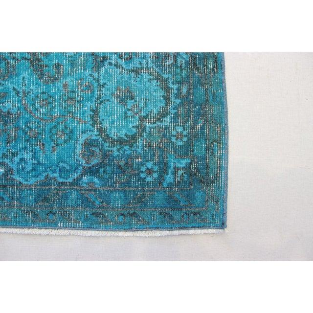 "Turkish Overdyed Turquoise Area Rug - 5'7"" X 9'1"" - Image 6 of 8"