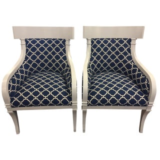 Vintage Klismos-Style Lacquer Armchairs - A Pair