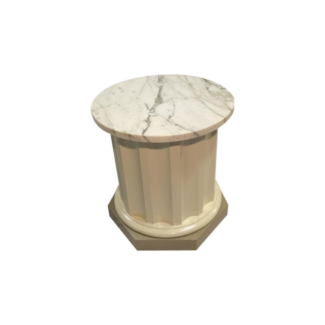 Doric-Style Occasional Table With Stone Top - Image 1 of 6