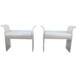 Lion in Frost White Leather & Lucite Benches- A Pair