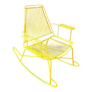 Mid-Century Metal Mesh Patio Rocking Chair
