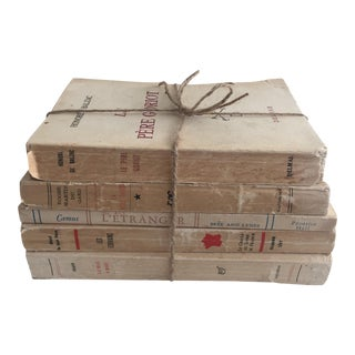 Vintage French Cream Colored Books - Set of 5