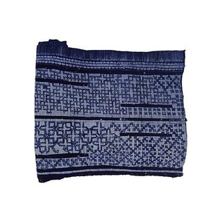 Hand Woven Indigo Batik W/ Cross Motif - 6.8 Yards