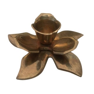 Solid Brass Flower Shaped Candle Holder