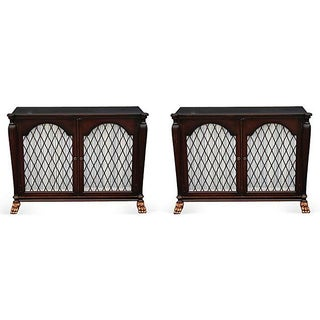 Mid Century Bachelors Chests With Brass Latticework - Pair