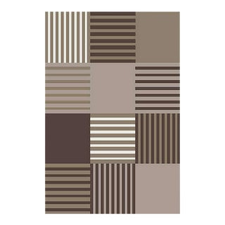 GEOMETRIC CHECKER BROWN RUG 5'3''X 7'7''