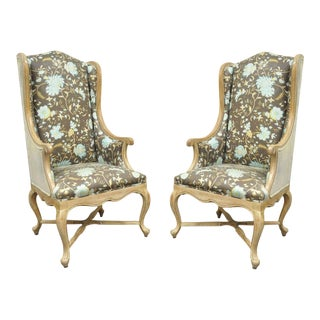Hollywood Regency French Country Carved Wing Back Fireside Lounge Chairs - a Pair