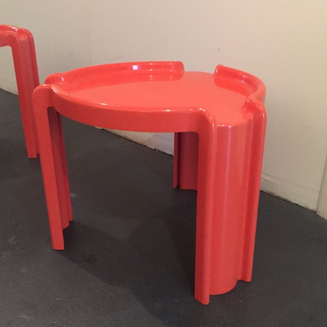 Red Nesting Side Tables - A Pair - Image 6 of 6