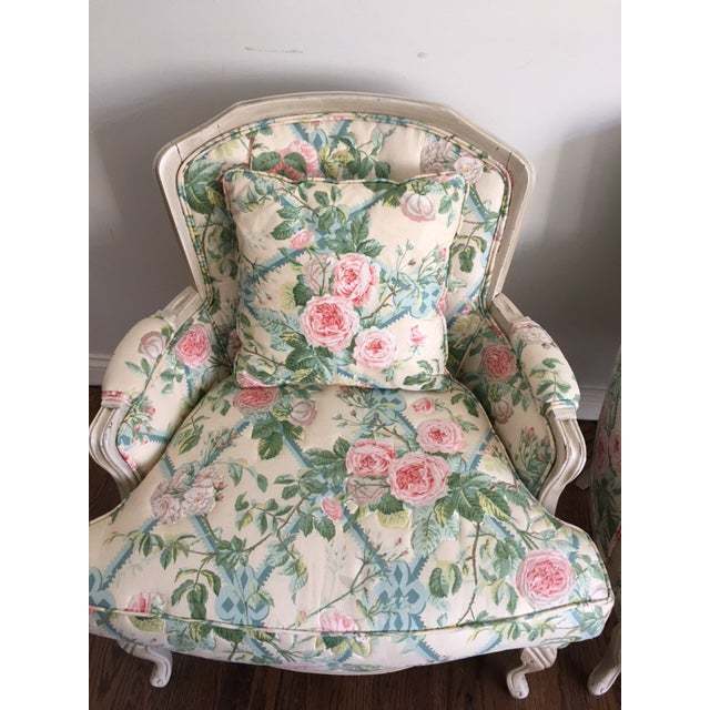 Shabby Chic Floral Bergere Chairs - A Pair - Image 9 of 11