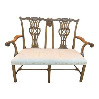 Chippendale Carved Wood Bench
