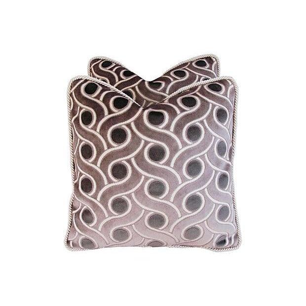 Custom Osborne & Little Cut Velvet Pillows - Pair - Image 3 of 7