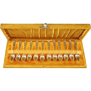 """Whiting Mfg. Co. Sterling Silver Demitasse """"Partridgeberry"""" Spoon Set - 12 Pieces"""