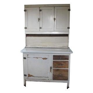 Mid-Century White Wood Hoosier Potting Cabinet