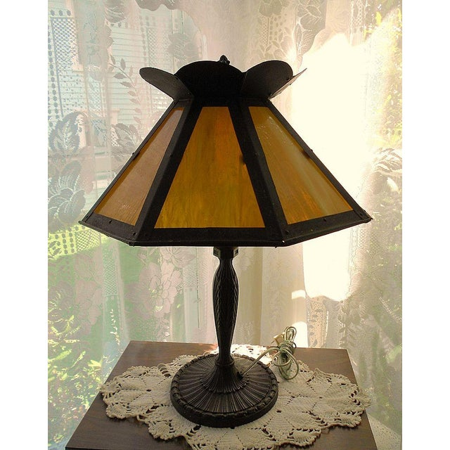 Antique Pittsburgh Lamp With Eight Panel Shade - Image 8 of 9