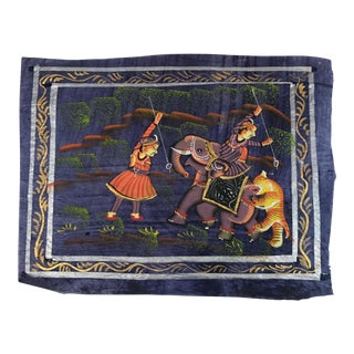 Hand Painted Indian Elephant & Tiger Textile