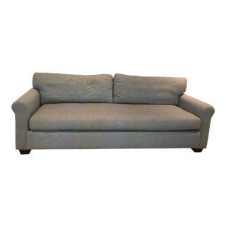 Pottery Barn Grey Basketweave Linen Upholstered Sofa