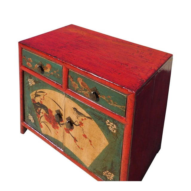 Chinese Red Green Flower Bird Nightstand - Image 5 of 6