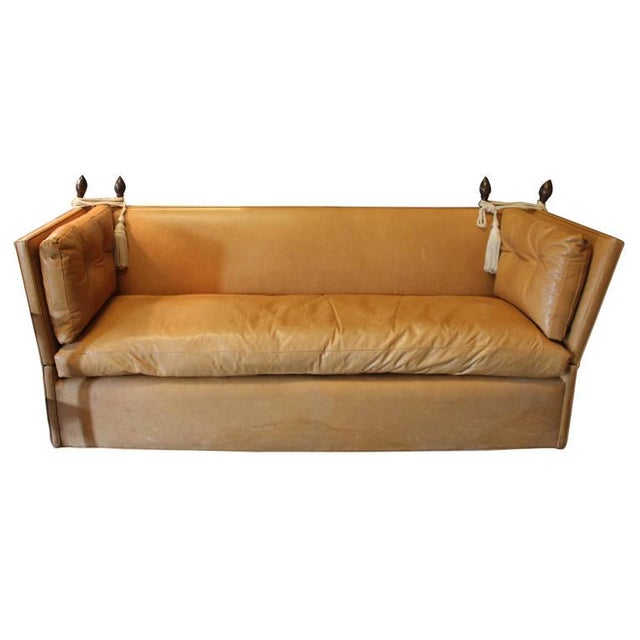 High Back Leather Sofas: Knole Style Cognac Leather High Back Sofa