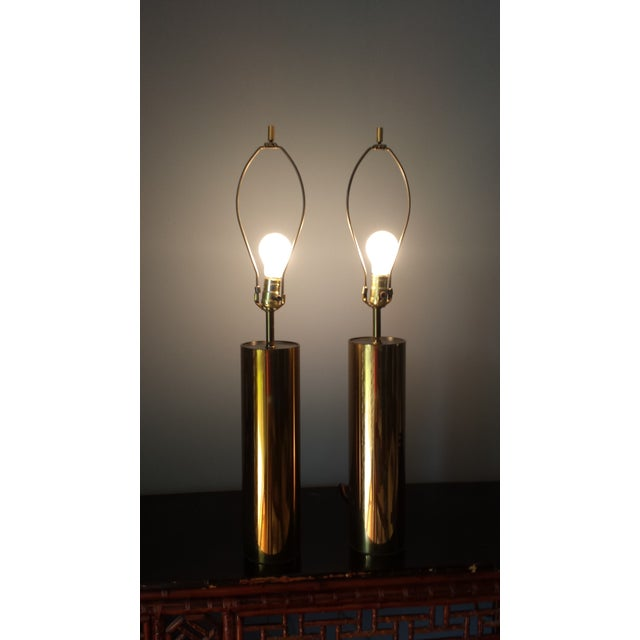 Brass Style Cylinder Table Lamps After Kovacs - 2 - Image 5 of 7