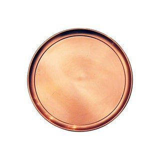 Large Round Mid-Century Modern Copper Tray