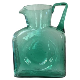 Vintage 1960s Blenko Water Pitcher, Turquoise