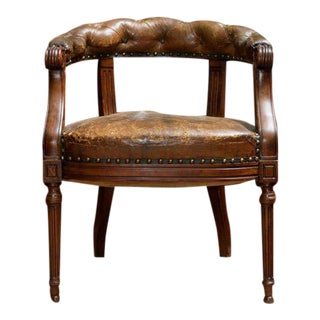 Tufted Leather and Mahogany Barrel-back Library Chair