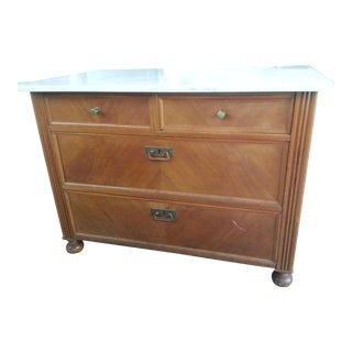 Antique Four Drawer Marble Top Dresser