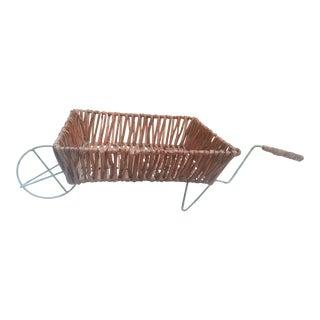 Wicker & Metal Wheel Barrel Basket