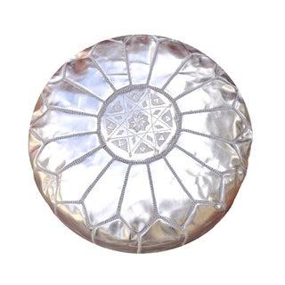 Silver Moroccan Leather Pouf/Ottoman