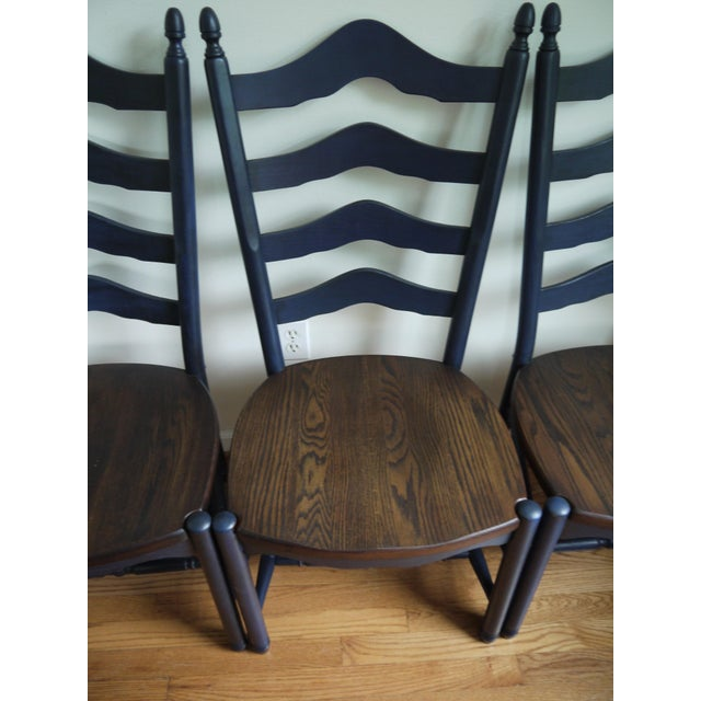 Farmhouse style ladder back dining room chair set of 4 chairish - Ladder back dining room chairs ...