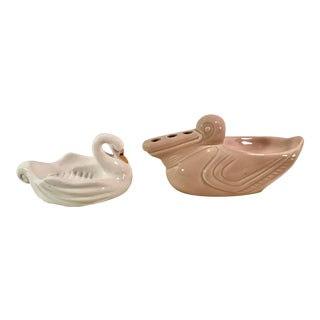 Vintage Swan Ceramic Soap Dishes - A Pair