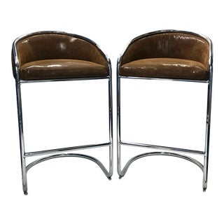 Circa 1960 Vintage Chrome Bar Stools - A Pair