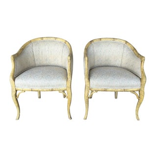 A. Rudin Faux Bamboo Accent Chairs - A Pair