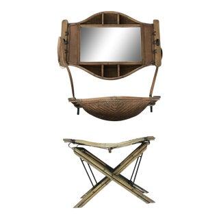 Vintage Kalmar Rattan Mirrored Shelf & Stool - Set of 3