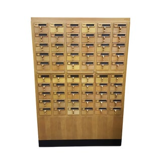 Vintage 60-Drawer Library Card Catalog Cabinet